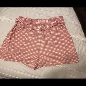 Pink and white check short